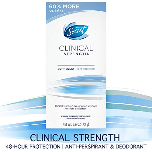 Clinical Strength Light - Secret Antiperspirant and Deodorant for Women, Clinical Strength Soft Solid, Light and Fresh, 2.6 Oz