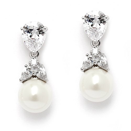Mariell Silver Platinum Plated Pear-Shaped CZ Clip On Wedding Earrings with Ivory Glass Pearl Drops
