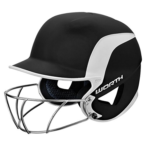 Softball Wire - Worth Legit 70MPH Fastpitch Batting Helmet w/ High Visibility Wire Guard - Dark Green