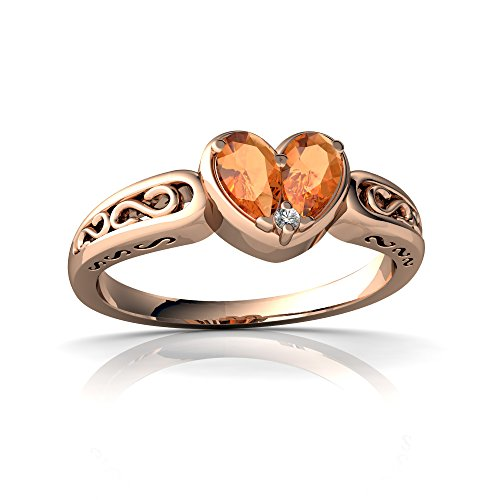14kt Rose Gold Fire Opal and Diamond 5x3mm Pear filligree Heart Ring - Size 9
