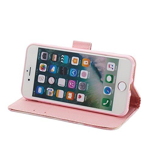 Vandot para iPhone 7 PU Funda Serie Bolsa Modelo Colorido con Bonito Hermoso Patrón de Impresión Dibujo Monedero de la Cartera de la Cubierta Móvil del Bolso del Teléfono Móvil del Proteja la piel con 3D PT 10