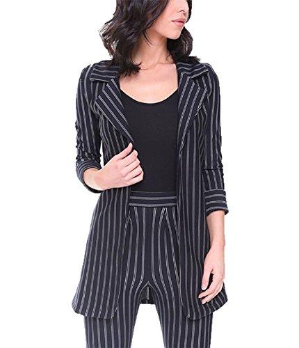 MA ONLINE Ladies Pinstripe Turn up Sleeve Blazer Womens Slim Fit Office Tailored Jacket Navy Medium (Navy Pinstripe Blazer)