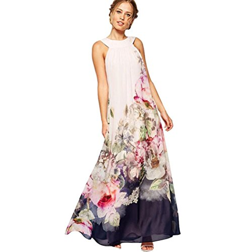 Price comparison product image AmyDong Women's Dress,  Clearance Summer Beach Dress Women Casual Fit and Flare Floral Sleeveless Dress Halter Strap Dress Split Ends Skirt (2XL,  White)
