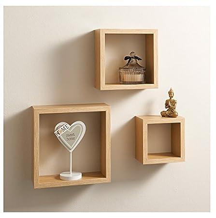 Set Of 3 Floating Cube Shelf / Shelves Wall Storage Oak White Black (OAK)