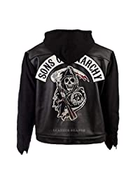 Biker Motorcycle SOA Sons of Anarchy Hooded Vintage Real/Faux Leather Jacket