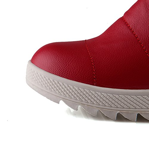 AmoonyFashion Womens PU Low-top Solid Lace-up Low-Heels Boots Red uUsBGTUjhJ