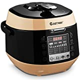 COSTWAY 5.3 Qt Electric Pressure Cooker 12-in-1 Multi-Use Programmable Slow Cooker with Led Control Panel, Three Taste Choice, Instant Cooking with Pre-setting Time and Pressure Adjustment, Stainless Steel and Non Stick Pot (Black)
