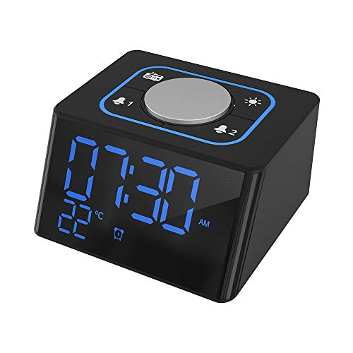 - Alarm Clock Radio,Dual USB Charging Port for Smartphone, LED Dimmable Display,Temperature Monitor,Adjustable Alarm Volume,12/24H Mode,Earphone Jack,Battery/AC Powered for Bedrooms Bedside Office