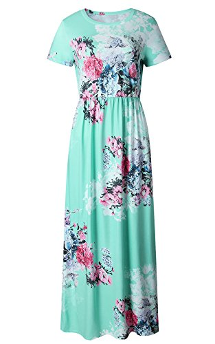 Green Soft Dress - LiMiCao Casual Long Vintage Flower Dress with Sleeves Floor Length Retro Maxi Dress for Women (L, Green 3)