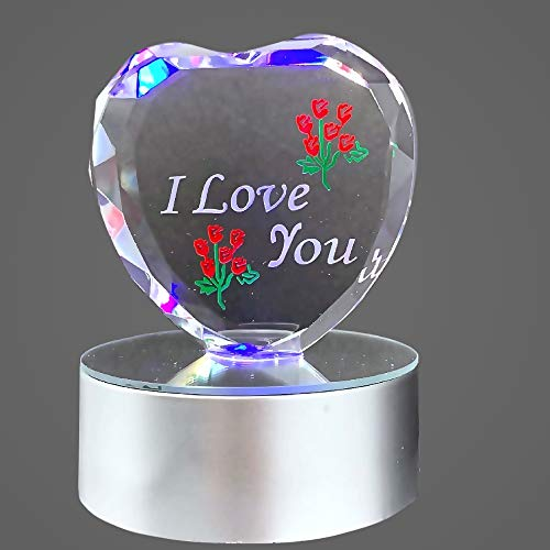 BANBERRY DESIGNS I Love You Gift - Etched Glass Heart on LED Base - LED Light up Heart - Valentine's Day Decoration - Gift for Sweetheart, Wife, Husband, Boyfriend, Girlfriend ()