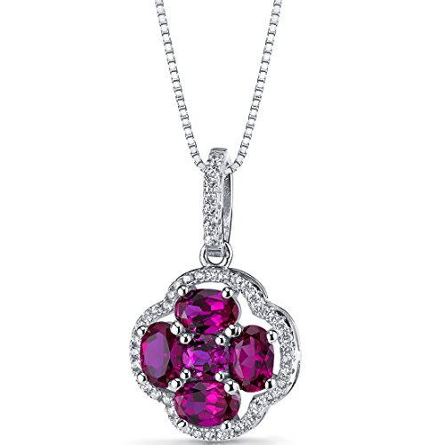 Created Ruby Clover Pendant Necklace Sterling Silver 2.25 Carats