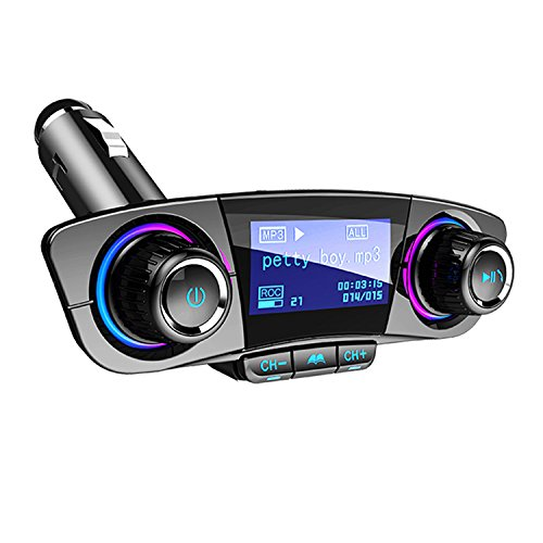 Car Charger, Bluetooth FM Transmitter Wireless In-Car FM Transmitter Radio Adapter Car Kit, Dual USB Charging Ports, Hands Free Calling for iPhone, Samsung, etc, AUX, TF Card, U Disk Play by JINSERTA (Image #7)