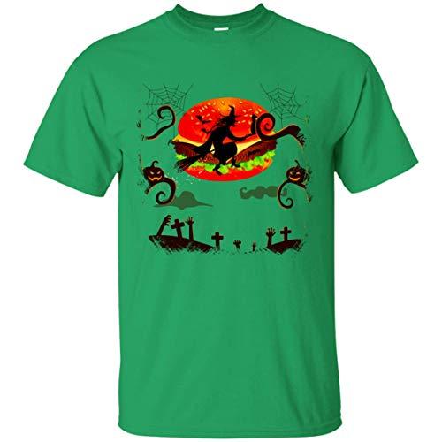 Witch Fly On The Hamburger Night T-Shirt - Funny Halloween Costume Hamburger Lovers Tee ()