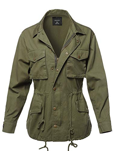 (Awesome21 Causal Boyfriend Over-Sized Utility Anorak Jacket Olive S)