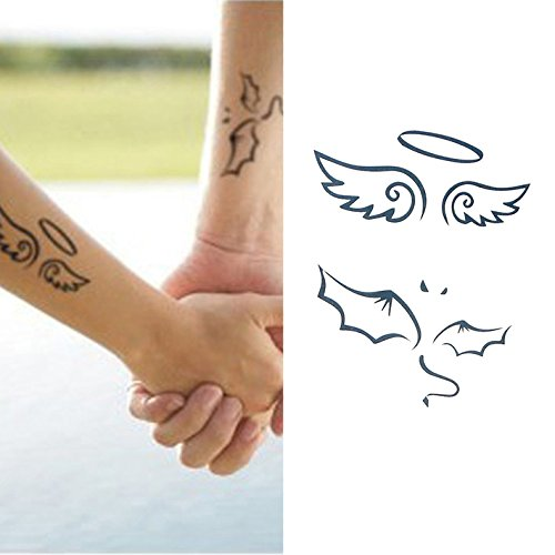 Oottati Matching Couple Tattoos - Temporary Tattoo Angel and Demon f 2)
