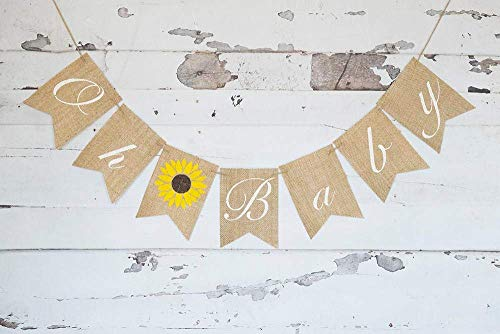 Oh Baby Sunflower Banner for Summer Baby Shower or Gender Reveal Party Decoration