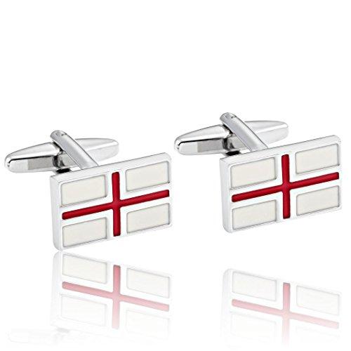 - Urban Jewelry Rectangle Men's Red Cross Cufflinks 316L Stainless Steel Silver Cuff Links