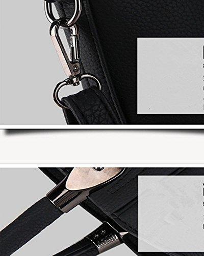Eysee - Bolso de tela de poliuretano para mujer blanco blanco negro