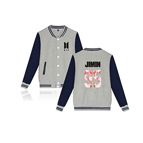 Kpop BTS New Logo Jacket Bangtan Boys Unisex Baseball Jacket Jin Suga JIMIN V (Kpop Costume For Male)