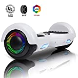 Felimoda Hoverboard UL 2272 Certified Flash Wheel 6.5'' with LED Light Self Balancing Wheel Electric Scooter (White)