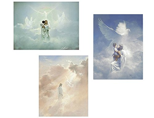Inspirational Pictures Of Jesus - wallsthatspeak 3 Christian 8x10 Art Prints Jesus and Angels In Heaven Passion of Christ