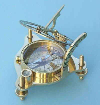 Brass Sundial/Magnetic Nautical Compass w/ Spirit Level & Hardwood Case