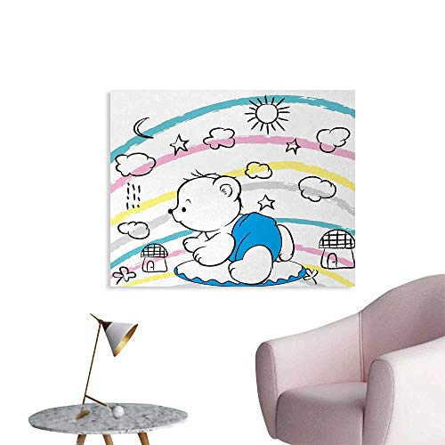 (Tudouhoho Bear Wall Poster Children Kids Theme Cute Doodle Toy with Clouds Sun Moon and Houses Colorful Stripes Wall Paper Multicolor W36 xL32)