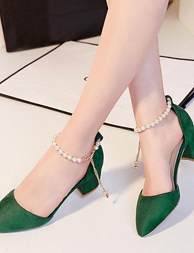 ShangYi Womens Shoes Heel Heels / Pointed Toe Sandals / Heels Outdoor / Dress / Casual Black / Green / Red Green