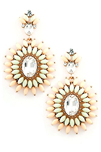 Peach Oval Beads - Karmas Canvas Oval Crystal with Floral Beads Earring (Peach)