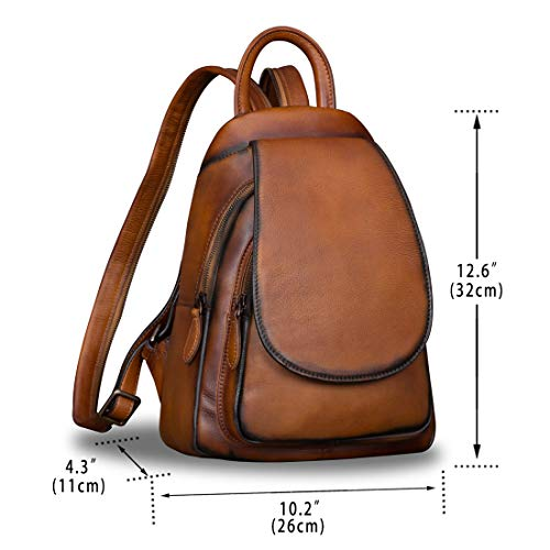 Leather Backpack for Women Vintage Handmade Casual Small Rucksack Satchel