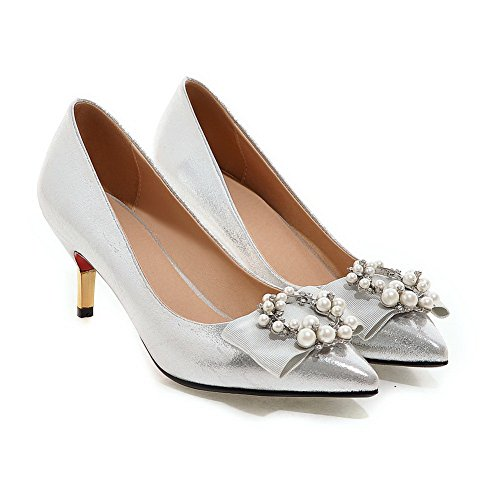 balamasa Mujer Slip-on low-heels Solid Charol pumps-shoes Plateado - plata