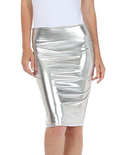 Fast Fashion - Haute Taille Regard Humide PVC Cuir Brillant Mtallique Liquide Crayon Midi Jupe - Femmes Mtallique Argent