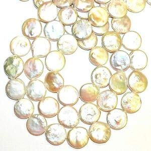 Steven_store NP511 White 14mm Flat Round Coin Cultured Freshwater Pearl Beads 14