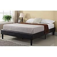 Madison Home Modern Espresso Brown Bonded Leather Platform Bed with Wooden Slats King