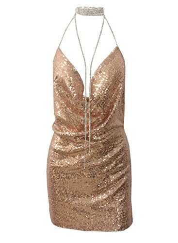 Halter Clubwear Mini Dress - Futurino Women Shining Backless Sequin Split Mini Dress Halter Bodycon Clubwear (XS, Rose Gold)