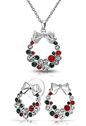 Bling Jewelry Rhodium Plated Crystal Wreath Necklace Stud Earrings Set
