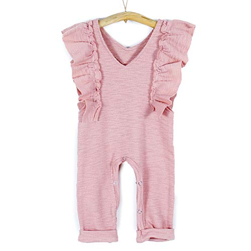 PatPat Long Pants Bodysuit Sleeveless Ruffles Romper Jumpsuit Overalls Outfit for Infant Baby Girls 12-18 Months from Yaffi