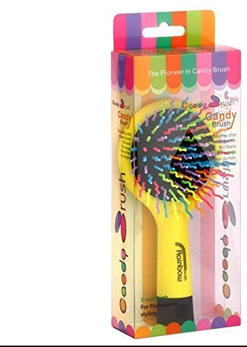 Rainbow Hair Brush detangling volumising hair brush shower brush With Multi- Coloured S Curl Wave Design Bristles - Women Colleague Female Friend Partner Teenager Teenage Girls Her Popular Health & Beauty Pamper Essential Bath and shower (Yellow rainbo