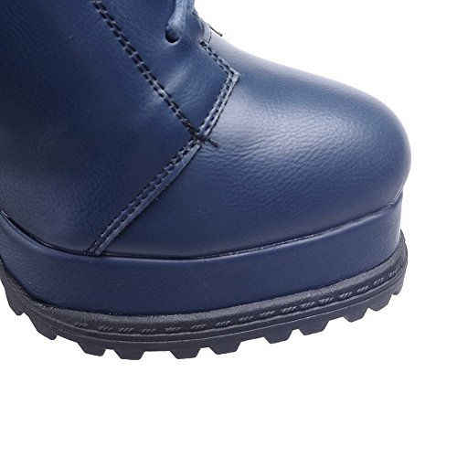 Heels Boots Closed Blue Low High top Toe AmoonyFashion Zipper Round Solid Women's Cqcgz1