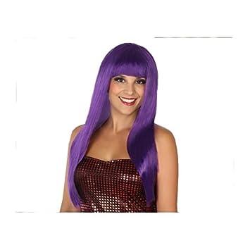 Atosa-8830 Peluca Extra Larga Flequillo Color Violeta única (8830: Amazon.es: Juguetes y juegos