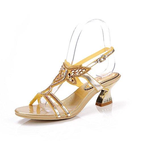 mujer Dorado tacón dorado Zapatos Unicrystal de xwYUtn8