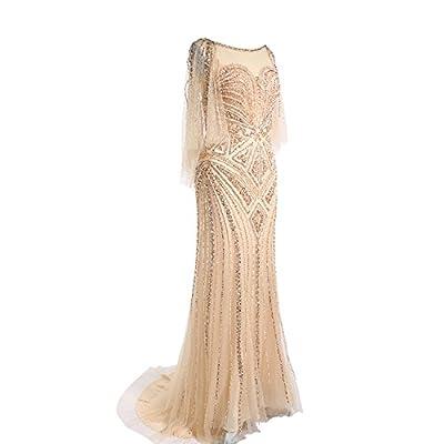 Sweetdress Women's 1920s Gold Sequin Beaded Tulle Long Evening Dress