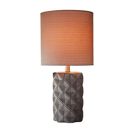"Amazon Brand – Rivet Geo Modern Black Ceramic Living Room Table Desk Lamp, LED Bulb Included, 22.75""H, Grey - Geometric shapes in shades of grey and black give this lamp's ceramic base a modern feel, while a fabric drum shade, also in grey, gives it a classic hint. This lamp will add pleasing ambient light to transitional or modern décor. 11"" Diameter x 22.75""H Ceramic base, grey fabric shade - lamps, bedroom-decor, bedroom - 414IlcNay2L. SS570  -"