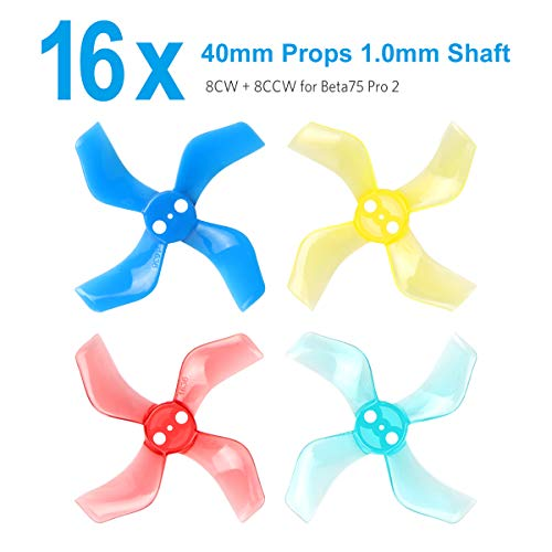 (BETAFPV Gemfan 16pcs 40mm 4-Blade Props with 1.0mm Shaft Micro Whoop Propellers for Inductrix FPV Beta75S Beta75 Pro 2 etc)