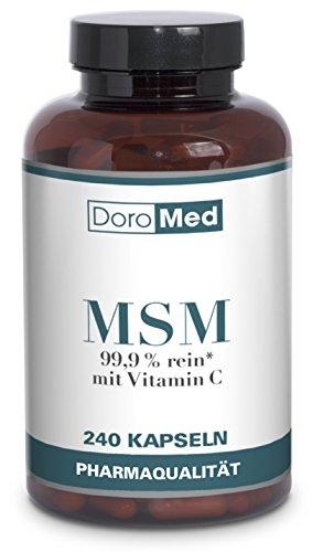 MSM Kapseln - 240 Hochdosierte Organischer Schwefel Kapseln: 99,9 % Reines MSM (Methylsulfonylmethan) - 1.200 mg MSM Schwefel-Pulver + 24mg Vitamin C pro Tagesdosis - Deutsche Pharmaqualität
