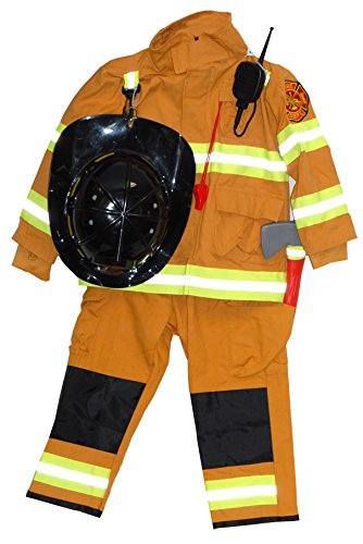 Authentic Boys Fireman Halloween Costume Firefighter Size 7-8 Tan
