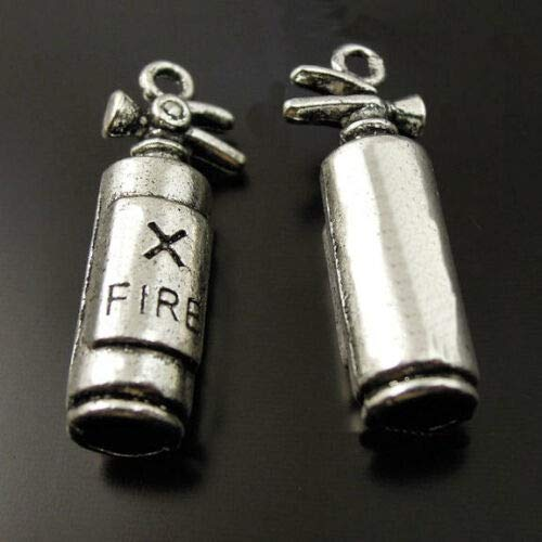 Fire Extinguisher Charm - 4 Fire Extinguisher Charms Antique Silver Tone 3D Firefighter - SC1830 DIY Jewelry Making Supply for Charm Pendant Bracelet by Charm Crazy