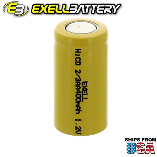 Exell 2/3AA 1.2V 400mAh NiCD Flat Top Rechargeable Battery for high power static applications (Telecoms, UPS and Smart grid), electric mopeds, meters, radios, RC devices, electric tools