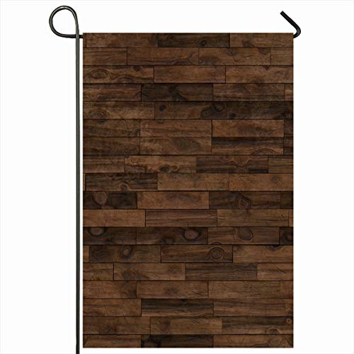 Ahawoso Garden Flag 12x18 Inches Nobody Flooring Wood Dark Brown Laminate Parquet Floor Seamlessly Pattern Abstract Panel Board Decorative Seasonal Double Sided Home House Outdoor Yard Sign