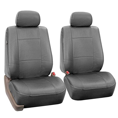 FH-PU002102 Classic PU Leather Pair Set Car Seat Covers, Airbag Compatible, Solid Gray- Fit Most Car, Truck, SUV, or Van